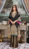 Embroidered Chiffon Shirt with Sequins, Pearl and Swarovski Hand Embellishment 3 Yards Embroidered chiffon Dupatta with Sequins 2.65 Yards Embroidered front Border with Sequins on Tissue 28 Inches Embroidered back Border with Sequins on Tissue 28 Inches Jamawar Trouser 2.5 Yards