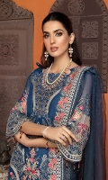 • Embroidered Chiffon Front with sequins, tilla and baadla: 1.25 yards • Embroidered Chiffon back with sequins, tilla and baadla: 1.25 yards • Embroidered Chiffon Sleeves with sequins, baadla and tilla: 0.75 yards • Embroidered front border patch on tissue: 28 inches • Embroidered zari chiffon dupatta: 2.5 yards • Dyed PK grip trouser: 2.5 yards • Crystals and pearls for shirt tasseling