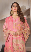 • Embroidered Chiffon Front with lurex, tilla and sequins: 1.25 yards • Embroidered Chiffon back with tilla and sequins: 1.25 yards • Embroidered Chiffon Sleeves with tilla and sequins: 0.75 yards • Embroidered Front border patch on tissue: 30 inches • Embroidered Chiffon Dupatta: 2.5 yards • Dyed PK grip trouser: 2.5 yards