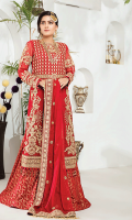 • Embroidered Chiffon Yoke with sequins and tilla: 26 inches • Embroidered Front Chiffon Panels with sequins and tilla: 2 pieces • Embroidered Chiffon Sleeves with sequins and tilla: 0.75 yards • Embroidered Back border patch on tissue: 30 inches • Embroidered Front border patch on tissue: 30 inches • Embroidered Chiffon Dupatta with tilla and sequins: 2.5 yards • Dyed PK grip trouser 2.5 yards