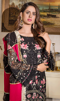• Embroidered Chiffon Front with lurex, tilla and sequins: 1.25 yards • Embroidered Chiffon back with lurex, tilla and sequins: 1.25 yards • Embroidered Chiffon Sleeves with lurex, tilla and sequins: 0.75 yards • Embroidered front border patch on tissue: 30 inches • Embroidered and finished Chiffon Dupatta with panni: 2.5 yards • Dyed PK grip trouser: 2.5 yards