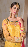 • Embroidered Zari Jamavar Front with tilla and sequins: 1.25 yards • Embroidered and Embellished neckline patch with emerald stones, nakshi, mirror work, pearls and crystals on tissue: 1 piece • Embroidered Back Border patch on tissue: 30 inches • Embroidered Chiffon Sleeves with tilla and sequins: 0.75 yards • Embroidered Front Border patch on tissue: 30 inches • Foil Printed, Embroidered and finished Organza Dupatta: 2.5 yards • Dyed PK grip trouser: 2.5 yards
