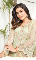 • Embroidered Chiffon Front with sequins and tilla: 1.25 yards • Embroidered Chiffon back with sequins and tilla: 1.25 yards • Embroidered Chiffon Sleeves with sequins and tilla: 0.75 yards • Embroidered front border patch on tissue: 30 inches • Embroidered and finished Chiffon Dupatta: 2.5 yards • Dyed PK grip trouser: 2.5 yards