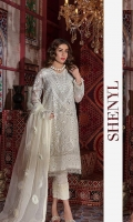 Heavy Embroidered Luxury Chiffon Shirt Heavy Embroidered Fancy Dupatta Dyed Silk Trouser