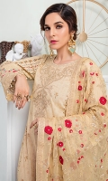 • Embroidered and digital printed lawn front: 1.25 yards • Embroidered neckline patch with sequins on the tissue: 1 piece • Digital printed lawn back and sleeves: 2 yards • Embroidered sleeves border with sequins on tissue 1: 30 inch • Embroidered sleeves border with sequins on tissue 2: 30 inch • Embroidered chiffon dupatta with sequins: 2.5 yards • Dyed jacquard trouser: 2.5 yards