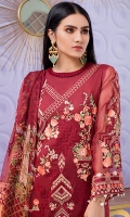 • Embroidered and digital printed lawn front with sequins: 1.25 yards • Embroidered chiffon sleeves with sequins: 0.75 yards • Digital printed lawn back: 1.25 yards • Embroidered front/trouser border with sequins on tissue: 29 inch • Digital printed chiffon dupatta: 2.5 yards • Dyed cambric trouser: 2.75 yards