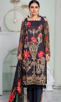 • Embroidered and digital printed lawn front: 1.25 yard • Digital printed lawn back and sleeves: 2 yards • Embroidered front border on the tissue: 29 inch • Digital printed tissue silk dupatta: 2.5 yards • Dyed cambric trouser: 2.75 yards • Embroidered trouser motif patches on the tissue: 2 pieces