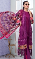 • Digital printed and all over embroidered lawn front with sequins: 1.25 yard • Digital printed lawn back and sleeves: 2 yards • Embroidered front border on tissue with mirror work and sequins: 29 inch • Digital printed chiffon dupatta: 2.5 yards • Dyed cambric trouser: 2.75 yards
