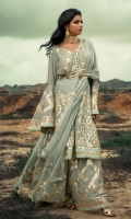 Embroidered Cotton Silk Stitched 3 Piece Suit