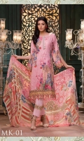 Embroidered with Digital Printed Karandi Shirt* *Digital Printed Chiffon Dupatta* *Dyed Karandi Trouser with Embroidered Patch