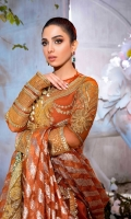 Embroidered front panel net (2 pieces) Embroidered back net Embroidered sleeve net Embroidered shirt border net Viscose slip Foil printed Pk raw silk trousers Embroidered neckline Organza Jacquard dupatta Embroidered Organza dupatta border Embroidered tassels