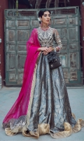 Details of fabric: Dupatta: Poly Net Lehnga: Jacaured Blouse: Viscose silk and Poly Net  Qty in Yards (for unstitched): Front+Back+sleeves Poly Net 2.0M Jacquard 9 Pannels Dupatta Poly Net 2.6M Undershirt Viscose silk 1.50M