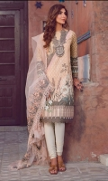 Printed Front 1.25 meter (Lawn)-printed back 1.25 Meter (Lawn)- printed Sleeves 0.67 Meter (lawn)-additional print 1 meter lawn- Trouser plain cambric 2 meter-polynet embroidered dupatta 2.5 meter- embroidered neckline patti 3o inch (Organza)