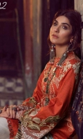 -Print Embroidered Front 1.25 meter (Lawn)-Back Print 1.25 Meter (Lawn)-Sleeves Print 0.67 Meter (lawn)-embroidered Sleeves patch 2 pcs (organza)-Trouser plain cambric 3 meter -printed dupatta tissue silk 2.5 meter
