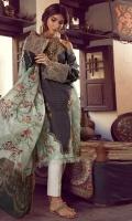 Printed Front 1.25 meter (Lawn)-printed back 1.25 Meter (Lawn)- printed Sleeves 0.67 Meter (lawn)-printed Dupatta tissue silk 2.5 meter- Trouser plain cambric 2 meter-embroidered sleeves border 1.5 meter (organza)-embroidered neckline motif 1 pcs (Organza)
