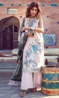 Printed Front 1.25 meter (Lawn)-printed back 1.25 Meter (Lawn)- printed Sleeves 0.67 Meter (lawn)-printed Dupatta tissue silk 2.5 meter- Trouser plain cambric 2 meter-embroidered NECKLINE MOTIF organza 1 PCS-embroidered front border 30 inch organza