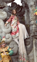 """Digitally Printed Lawn Front, Back and Sleeves: 3.10 Meter  Front Border: 32.5""""  Front Patch: 1 Piece  Net Sleeves Patch: 2 Piece  Trouser Doriya Cotton: 2.25 Meter  Embroidered Poly Net Dupatta: 2.66 Meter"""
