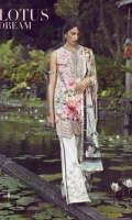 """Digital Printed Front, back and sleeves: 3.10 Meter  Neckline Patch: 1 Piece  Neck Patti: 1 Piece  Sleeves Border: 1 Meter  Daman Border: 32.5""""  Cambric Trouser Embroidered: 1 Meter  Plain Trouser: 1 Meter  Dupatta Printed Jacquard: 2.66 Meter"""