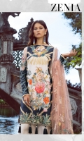 """Digitally Printed Lawn Front, Back and Sleeves: 3.10 Meter  Front Border: 32.5""""  Front Patch: 1 Piece  Net Sleeves Patch: 2 Piece  Trouser Doriya Cotton: 2.25Meter  Embroidered Poly Net Dupatta: 2.66 Meter"""