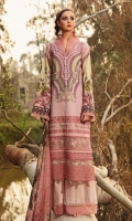 -PRINTED FRONT LAWN 1.25 METER  -PRINTED BACK LAWN 1.25 METER  -PRINTED SLEEVES LAWN 0.67 METER  -PLAIN CAMBRIC TROUSER 2 METER  -PRINTED TISUUE SILK DUPATTA 1 PC  -EMBROIDERED NECKLINE 1 PC  -EMBROIDERED DAMAN BORDERS LAWN 30 INCH  -EMBROIDERED DAMAN BORDER ORGANZA 30 INCH  -EMBROIDERED TROUSER MOTIF 1 METER  -FRONT BORDER 30 INCHES