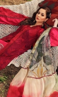 -EMBROIDERED LASER WORK FRONT LAWN 2 PANEL  -PRINTED BACK LAWN 1.25 METER -PRINTED SLEEVES LAWN 0.67 METER  -PRINTED CAMBRIC TROUSER 2 METER -PRINTED CHIFFON DUPATTA 1 PC  -EMBROIDERED SIDE PANEL 13 INCHES -EMBROIDERED NECKLINE 1 PC  -EMBROIDERED FRONT PATTI 2 METER