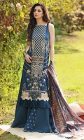 -EMBROIDERED DOBBY LAWN FRONT 26 INCHES  -PRINTED DOBBY LAWN BACK 1.25 METER -PRINTED SLEEVES DOBBY LAWN 25 INCHES  -EMBROIDERED SIDE PANEL DOBBY LAWN 13 INCHES  -TROUSER PLAIN CAMBRIC 3 METER PRINTED JACQUARD DUPATTA 1 PIECE  -EMBROIDERED SLEEVES BORDER 1 METER -PRINTED BORDER 1.25 METER