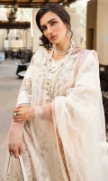 Embroidered right panel 1 Pc Embroidered left panel 1 Pc Sleeves border (3pcs) 1m Embroidered side panel 12 inches Back patch 1 pc Schiffly border 2m Flock printed dupatta 2.5m Silk dupatta borders 5m Plain cambric pants