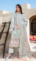 Embroidered Front 25 Inches Border (paisley) 30 Inches Hem border 30 Inches Sleeves Motif 2pcs Neckline Patti 30 Inches Plain Side Panels Dupatta Paisley 2pcs Dupatta border 5m Dyed Dupatta 2.5m Plain cambric pants