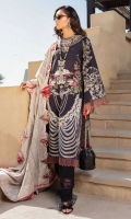 Embroidered front lawn 26 inches Printed back lawn 1.25 meter Printed sleeves lawn 0.67 meter Plain cambric trouser 2 meter Jacquard dupatta 1 pc Trouser schiffii border 1 meter Embroidered neckline 1 pc Embroidered side panel 13 inches Kavia patti 1 meter