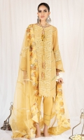 Embroidered front panel with diagonal pleats and lace insertions on side panels, oval cutout neckline finished with overturned cuff and organza print Paired with lemon raw silk shalwar embedding pin tucks and lace insertions at the border and organza dupatta with diagonal gotta lines and thick printed organza border on 4 sides.