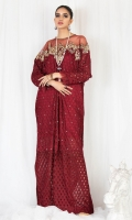 Embroidered net fabric with crystal spray on the front and embroidered neckline