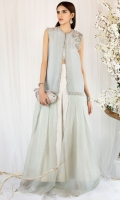 Ice blue is floor length gown infused with organza and raw silk front open design. Hand embroided with sequins and pearls on finishings and neckline. 3D floral motifs embellished on front and back. Paired with rawsilk pants in ivory.