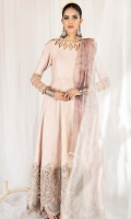 Soft pink Textured cotton net pishwas with embroidered border on hem Cutout detail on neckline with pearls Net patch with pearl detailing on sleeves Crushed pk raw silk pants Tie and die organza dupatta in shades of pink and faded purple finished with sheesha edging