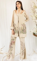 Ivory open jacket with neck halter detail, hand emroidery of floral motifs, pached organza enhanced with sequins and pearls.paired with rawsilk pants hand embroided and embellished in flora and fauna pattern. Mordern cutline