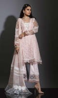 PINK EMBROIDERED NET CENTER PANNEL PAIRED WITH DYED EMBROIDERED NET PANNELS, ENHANCED WITH HAND EMBROIDERY HINTS DETAILING AND LACE WORK. PAIRED WITH LACE WORK CHIFFON DUPATTA