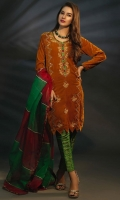 Mustard Velvet with Green and Red Contrast Embroidery Paired with Organza Chatta Patti Dupatta and Green Jamawar Trouser