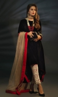 Black Velvet Trail Frock with Embroidered Sleeves and Statement Trouser Paired Along with Contrast Net Dupatta