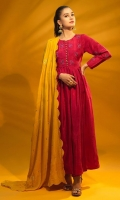 Dyed Raw Silk Thread Embellished Pishwas Paired Along with Matching Churidar Pajama & Contrast Mustard Color Embellished Shawl