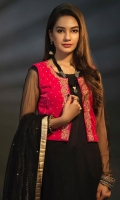 Net Shirt with Embroidered Hijar Pants Paired Along with Hot Pink Velvet Top and Dupatta