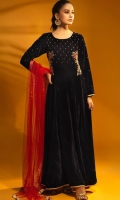 Navy Blue Velvet Long Frock with Red Contrast Dupatta Paired Along with Crepe Trouser