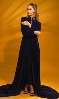 English Blue Color Gown with Velvet Trouser