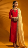Dyed Raw Silk Thread Embellished Frock Paired Along with Matching Trouser & Contrast Beige Velvet Mirror Embellished Shawl