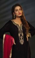 Velvet Full Length Shirt with Jamawar Trouser and Net Dupatta