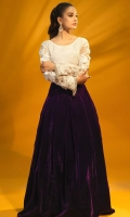 Purple Skirt (with Cancan) and White Hand Weaven Crochet Net Sequins Enhanced Top with Heavily Embellished Sleeves.