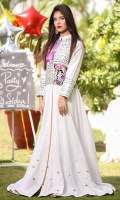 COTTON SILK FRONT OPEN STYLE GOWN, TROUSER WITH NET DUPATTA , COMPLETELY DETAILED HAND EMBROIDERY WITH MIRROR WORK, SEQUIN & ZARI/TILA. ENHANCED WITH HAND DETAILING DAMAN AND STITCHED TO PERFECTION FOR A PERFECT TRADATIONAL EVENING WEAR