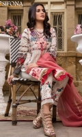 Digital Printed Lawn Front 1.20 Yards Embroidered Neckline 1 Pc Embroidered Daman 0.80 Yard Digital Printed Lawn Back 1.20 Yards Digital Printed Lawn Sleeves 0.70 Yard Dyed Trouser 2.70 Yards Embroidered Bunch For Trouser 1 Set Dobby Tilla Stripe Dupatta 2.50 Yards