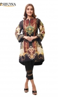 Digital printed lawn stitched shirt embellished with Lace & Pearls.