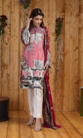 Shirt : Printed Embroidered Lawn.  Dupatta : Printed Chiffon Dupatta Trouser : Plain Dyed Lawn.