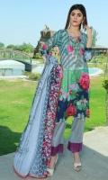 4 PCS Digital Printed Ladies Suit (100% Cotton Fabric) 3 Meters Shirt + sleeves 2.5 Meter Dupatta 2.5 Meter Trouser Shirt: Lawn Dupatta: Lawn Trouser: Lawn