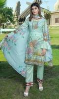 4 PCS Digital Printed Ladies Suit 100% Cotton Fabric 3 Meters Shirt + sleeves 2.5 Meter Dupatta 2.5 Meter Trouser Shirt: Lawn Dupatta: Lawn Trouser: Lawn